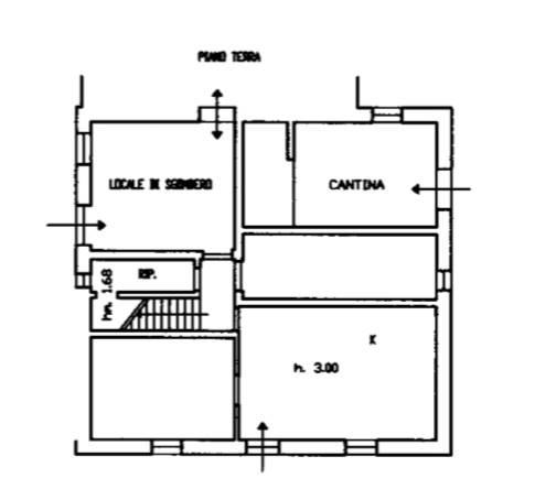 planimetria piano terra adiacente alla cantina