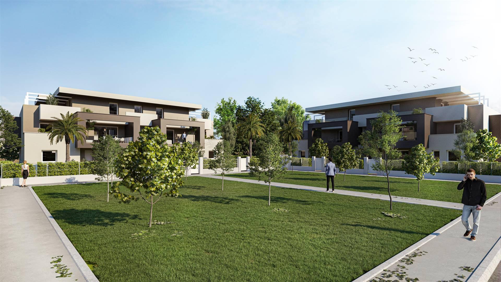 A pochissimi passi dal centro di PESEGGIA, frazione di Scorzè, piccole palazzine di 5 unità ciascuna in fase di realizzazione circondate dal verde