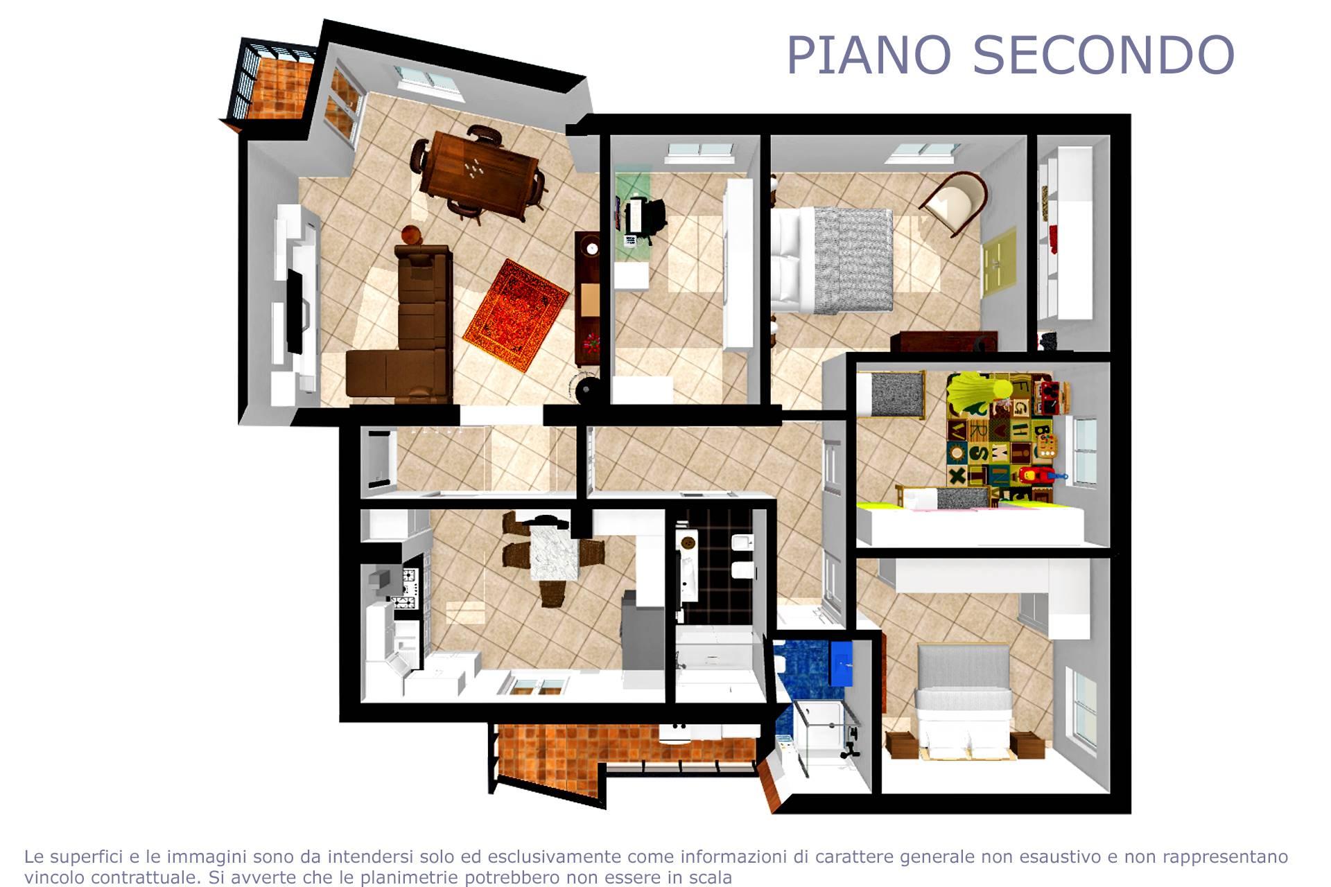 Planimetria arredata appartamento 2D
