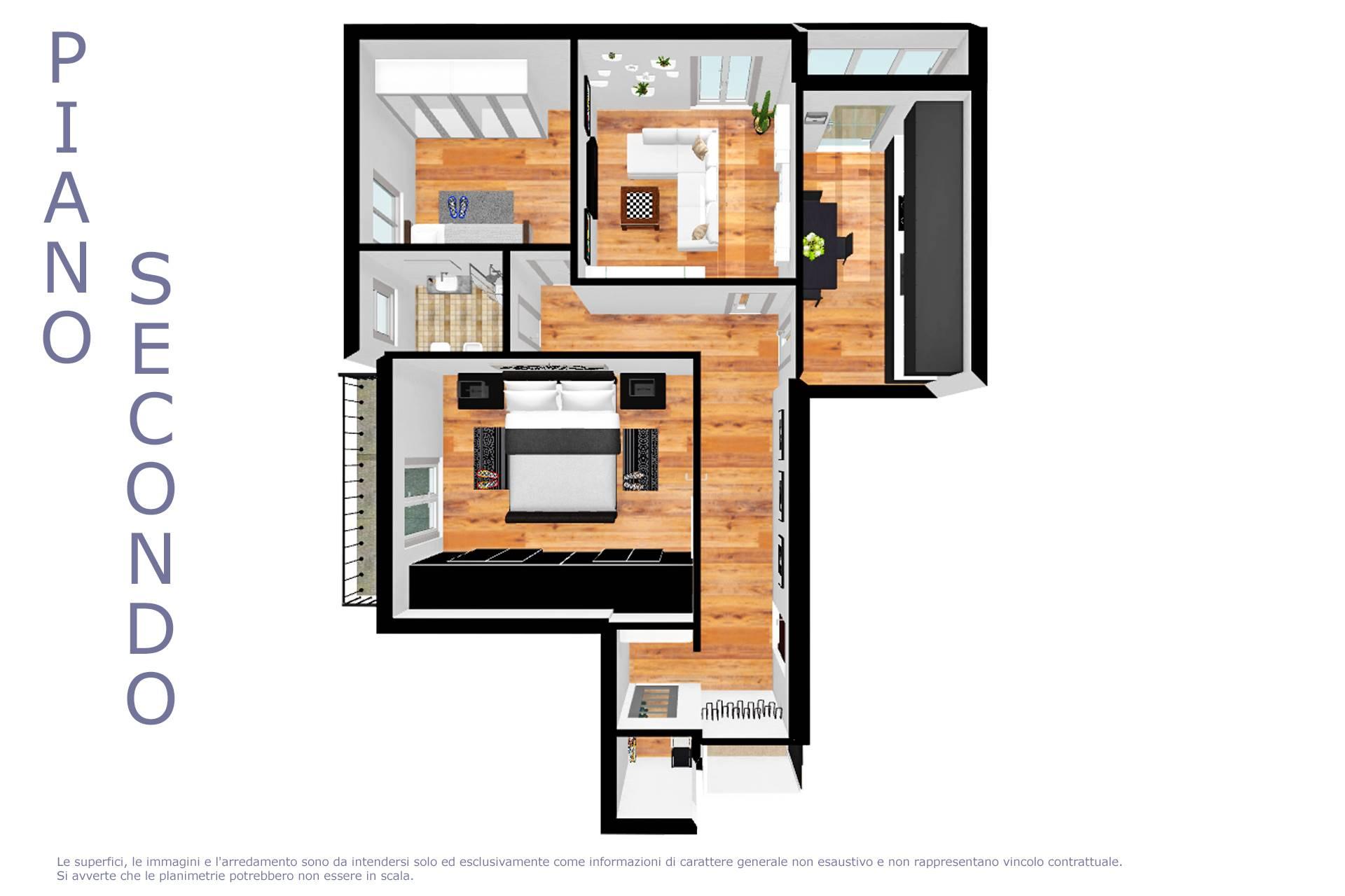 Planimetria appartamento arredata 2D