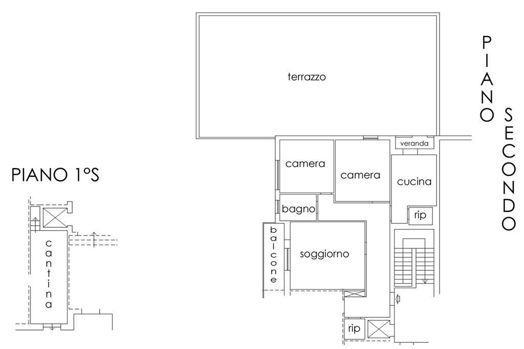 Planimetria appartamento e cantina 2D