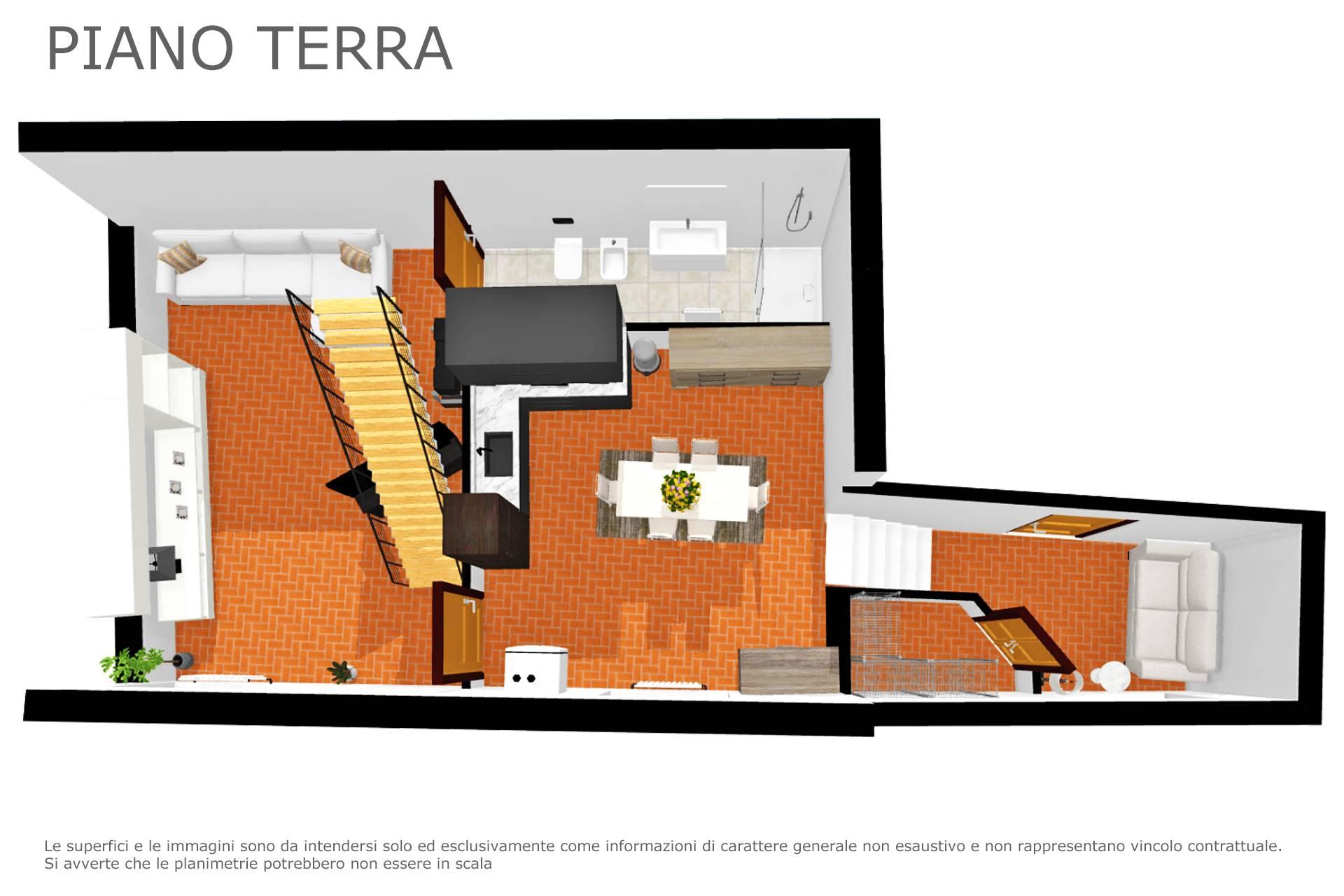 Planimetria appartamento 2D arredata