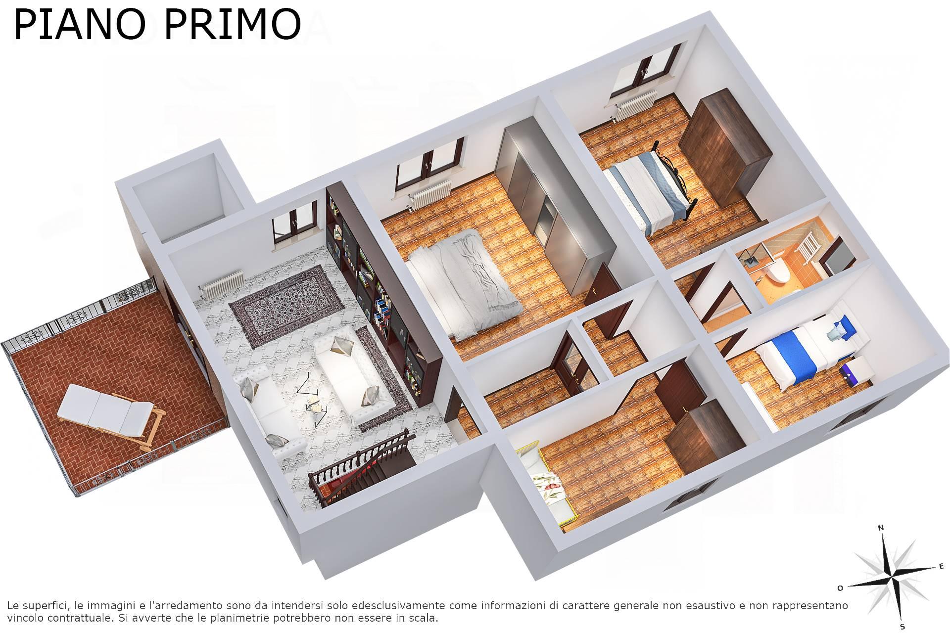 Planimetria 3D piano primo lato terrazza