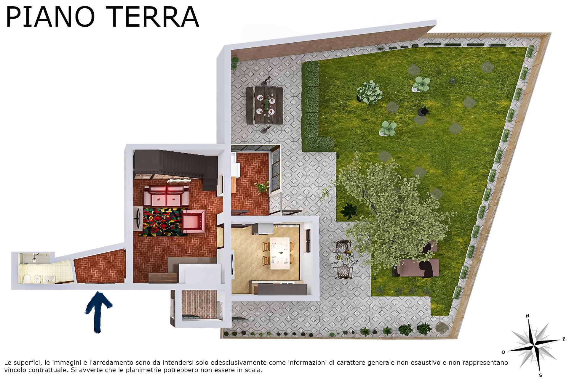 Planimetria 2D realistica piano terra con giardino