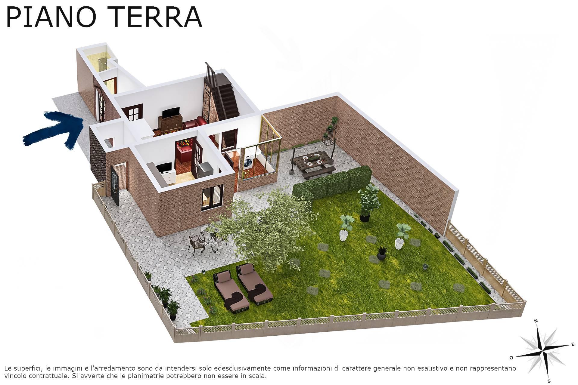 Planimetria 3D piano terra con giardino