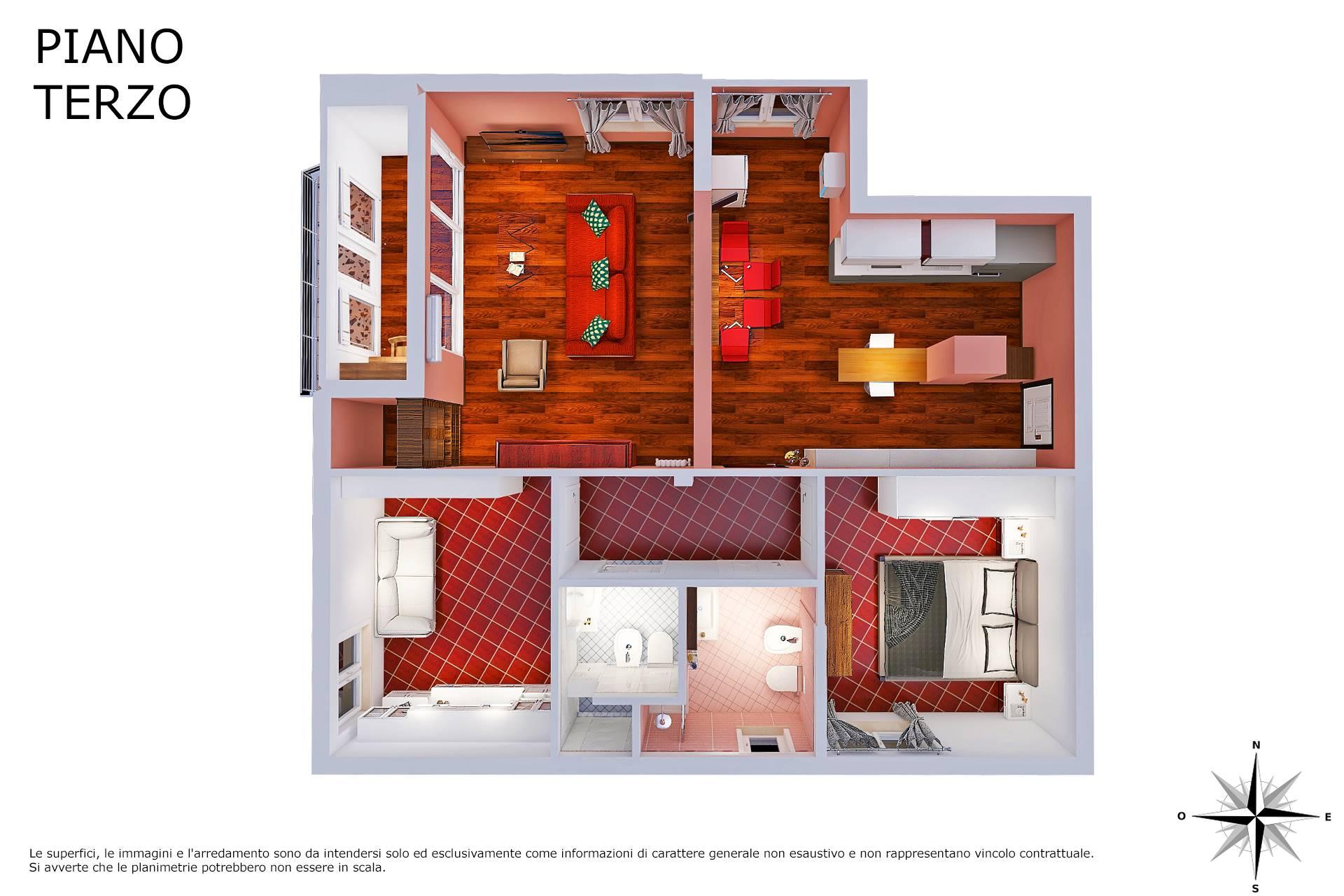 Planimetria realistica appartamento 2D