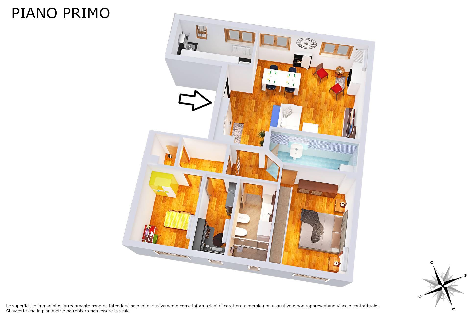 Planimetria 3D con proposta due camere e studio
