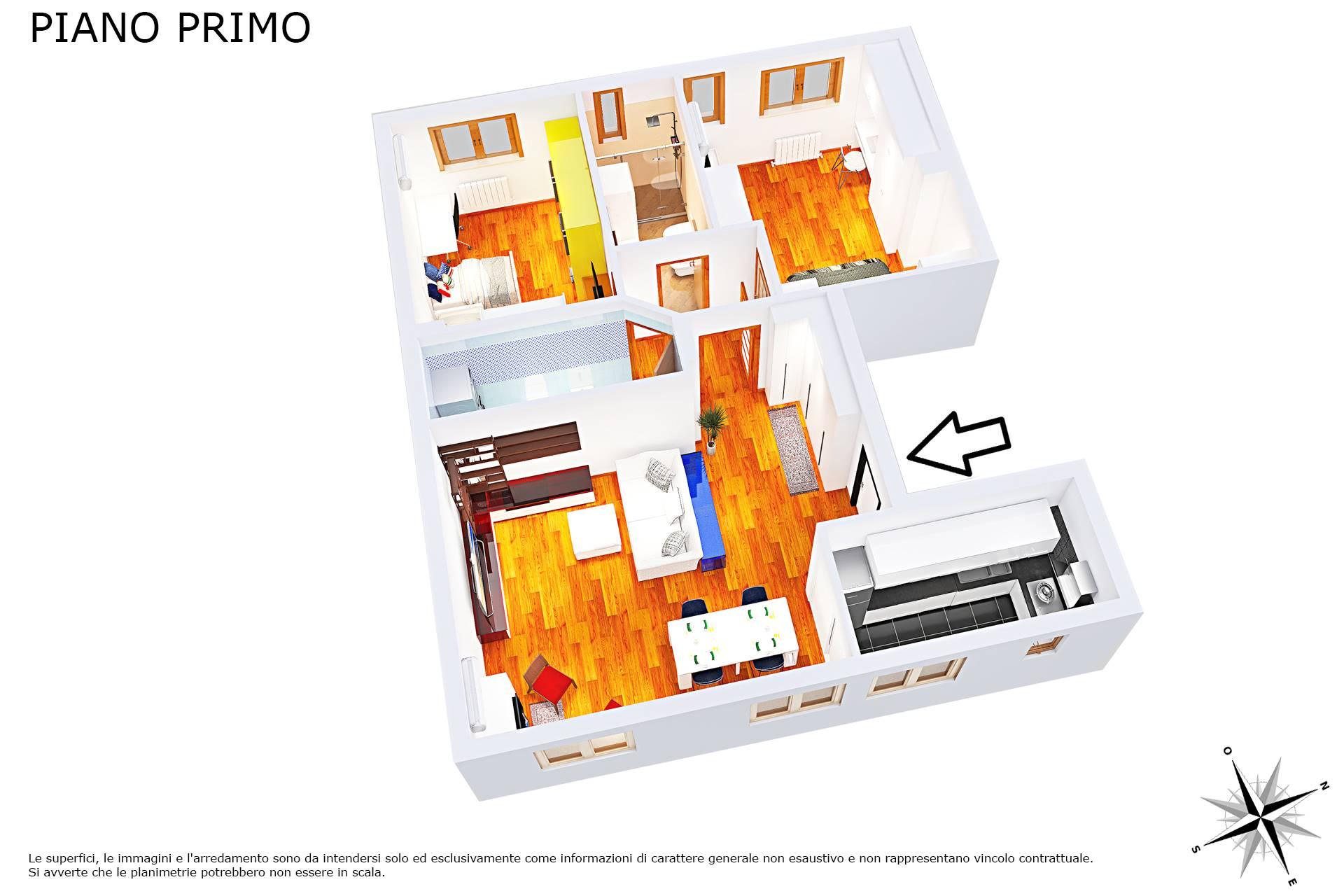 Planimetria 3D lato zona giorno