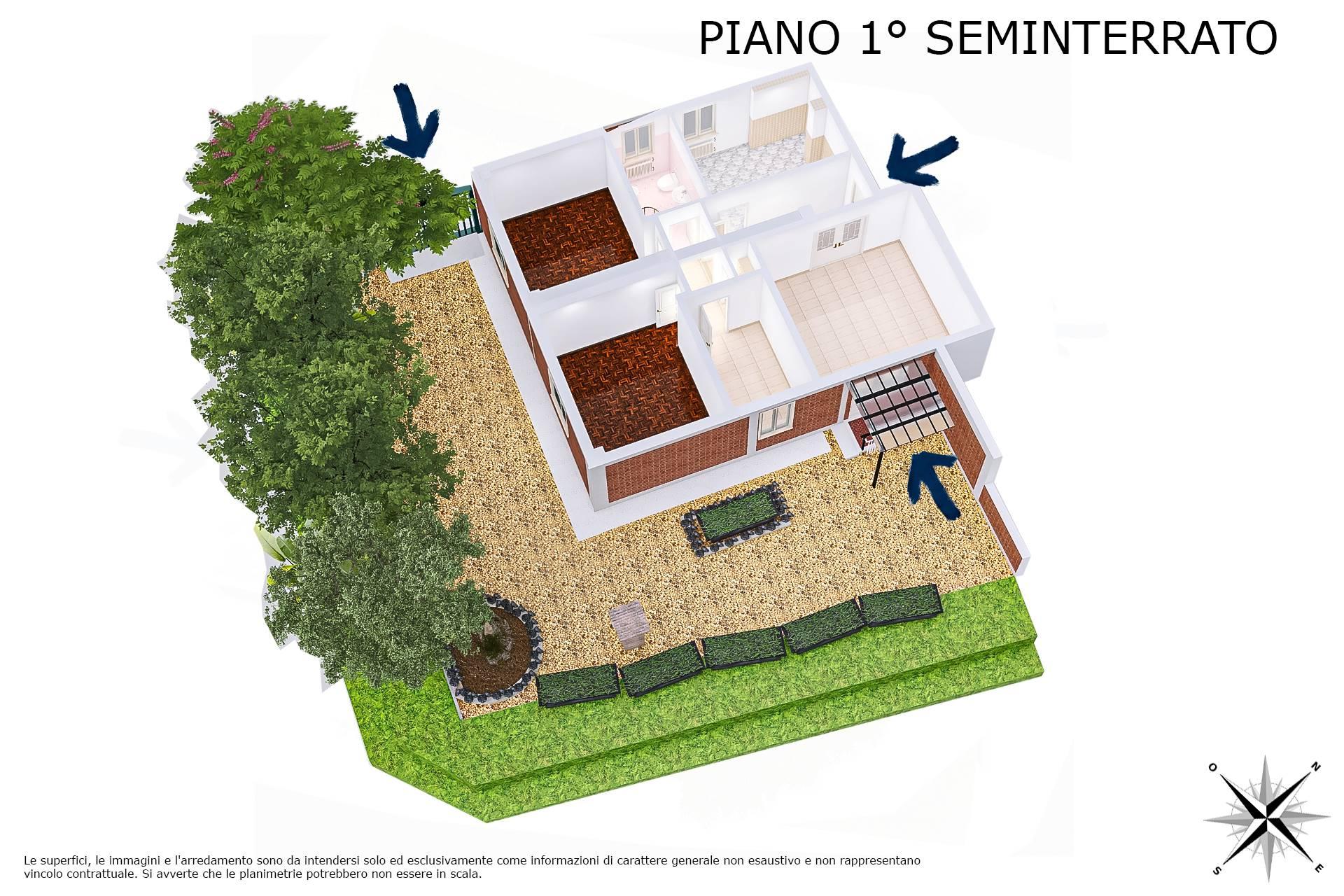 Planimetria 3D lato giardino
