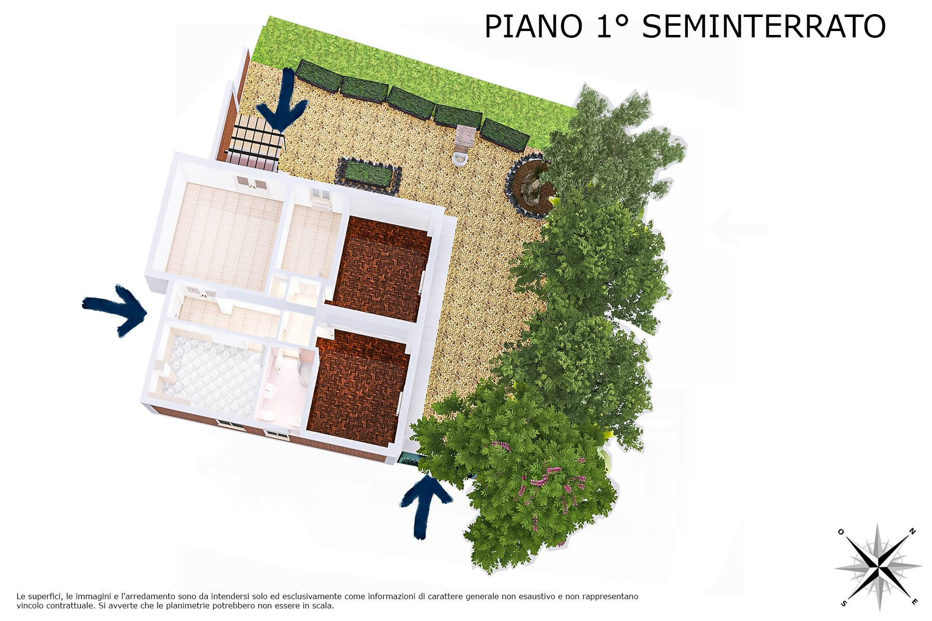 Planimetria 3D lato vani principali