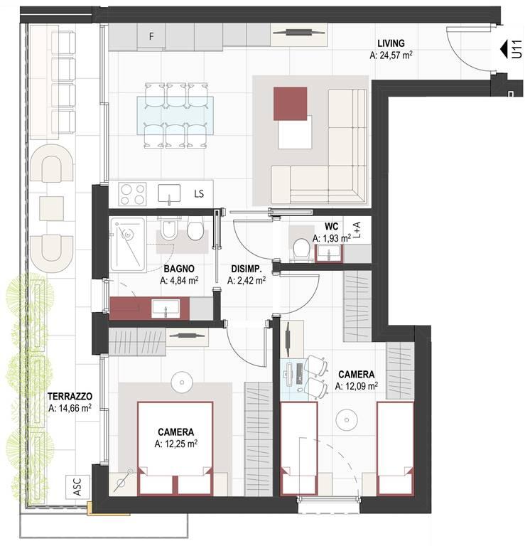 pianta appartamento - Rif. 0633