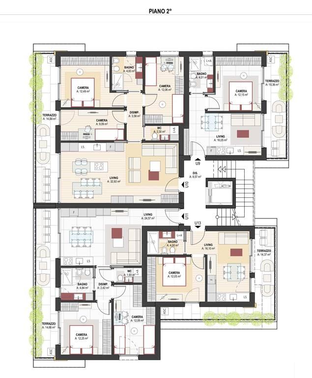 pianta 2 piano - Rif. 0633