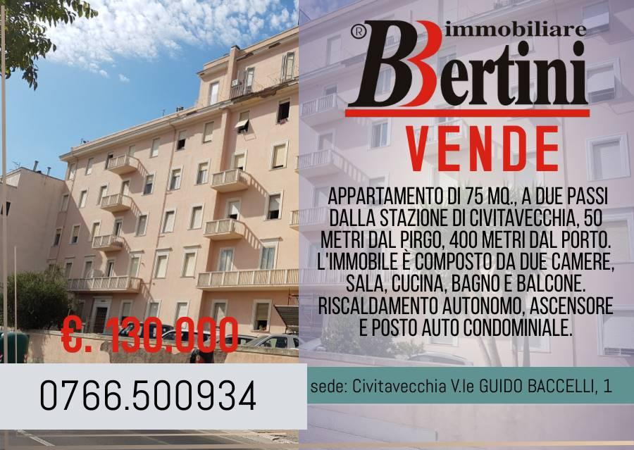 Appartamento di 75 Mq., a due passi dalla Stazione di Civitavecchia, 50 metri dal Pirgo, 400 metri dal Porto. l'immobile è composto da due camere,