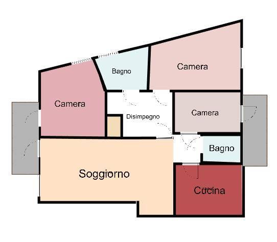 Ottimo 4 locali nel centro di Busto A. con tutti i servizi primari sotto casa. Dispone di doppio ingresso: uno nel soggiorno ed un'altro in cucina.