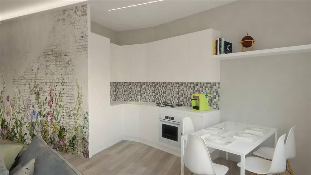 Render zona cucina integrata con zona living