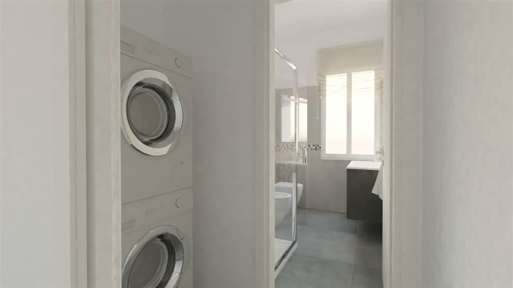 Render antibagno con zona lavanderia