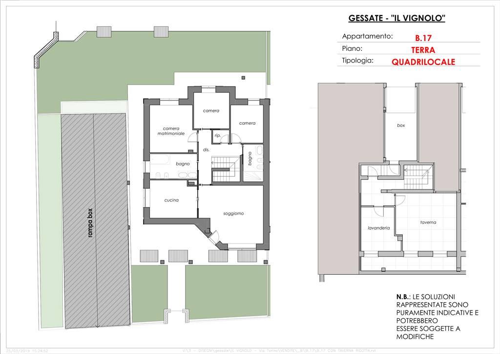 Planimetria quadrilocale con taverna e giardino
