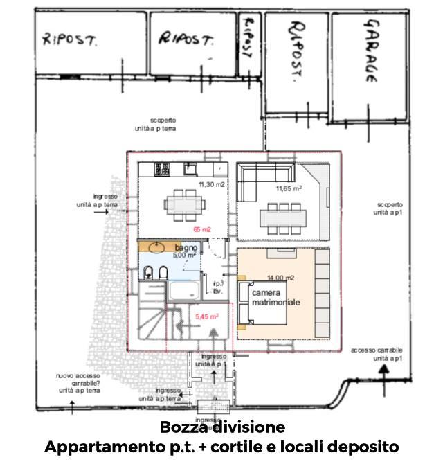 Bozza divisione in due appartamenti - Piano T