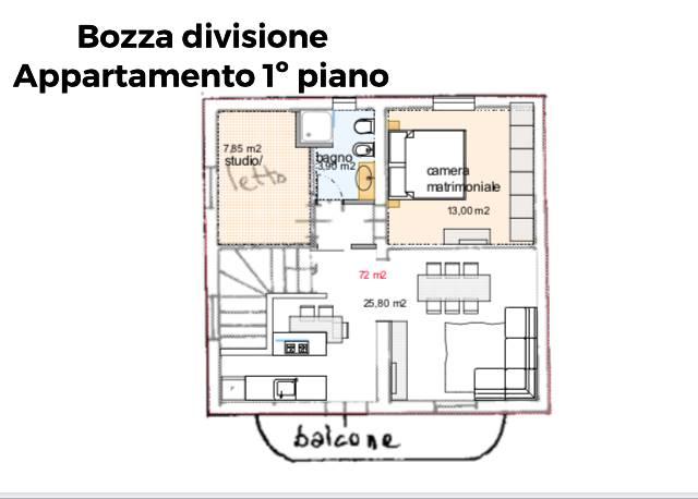 Bozza divisione in due appartamenti - Piano 1