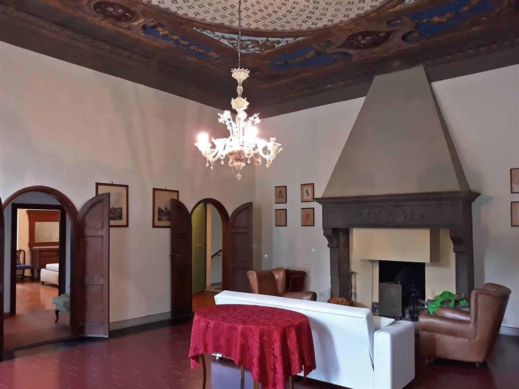 salone con affreschi e camino in pietra