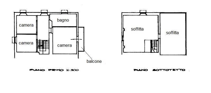 Planimetria primo piano e soffitta