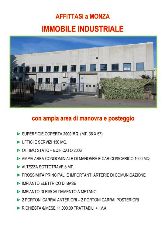 Industrial warehouse in MONZA 2000 Sq. mt.