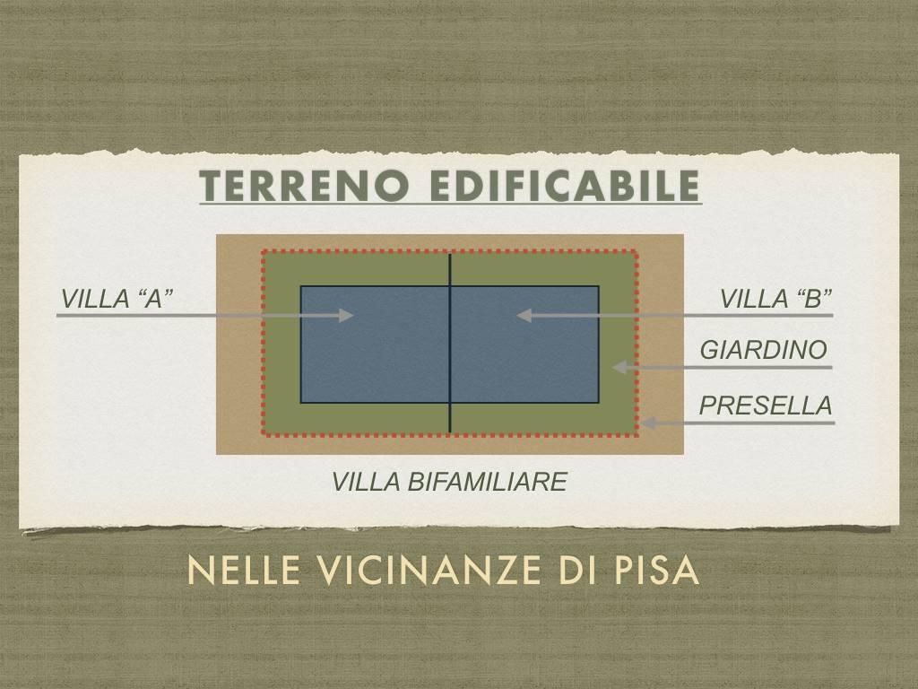 Splendida zona residenziale a pochi passi dal centro di Pisa. Terreno edificabile per VILLA BIFAMILIARE INTERA. di circa 220 mq. REALIZZATE I VOSTRI
