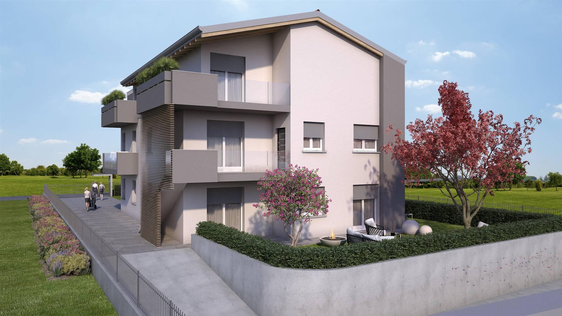 Attico di nuova costruzione a Osio Sopra. L' appartamento è posto all' ultimo piano di un contesto di sole 5 unità di cui 2 già vendute. E' composto