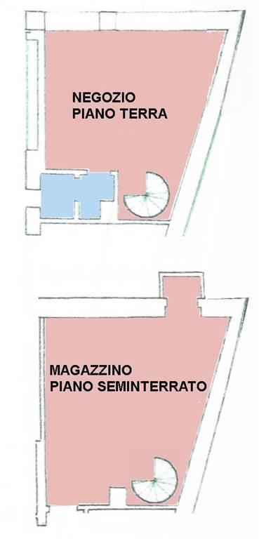Negozio in centro, libero, ristrutturato, 50 mq su due livelli, con bagno Geschäft in der Altstadt auf zwei Stockwerken, verfügbar, insgesamt ca. 50