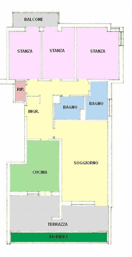 Vendesi appartamento al piano medio composto da ampio ingresso, cucina abitabile e ampio soggiorno con terrazza, 3 camere da letto, balcone, 2 bagni,