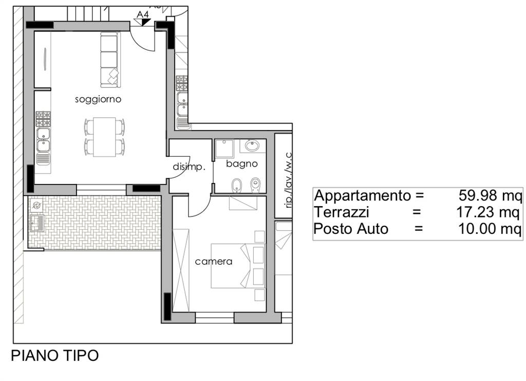 New construction in PRATO 60 Sq. mt. | 2 Rooms