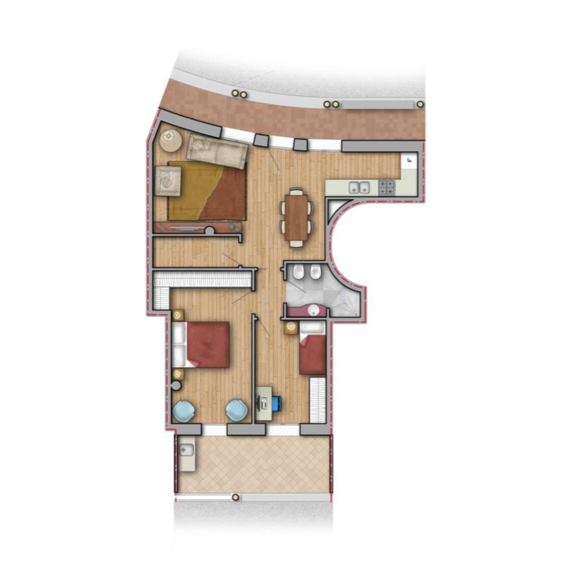 Il complesso immobiliare si trova nel cuore del centro storico della frazione di Stiava, è composto da 3 piccole palazzine per complessive 36