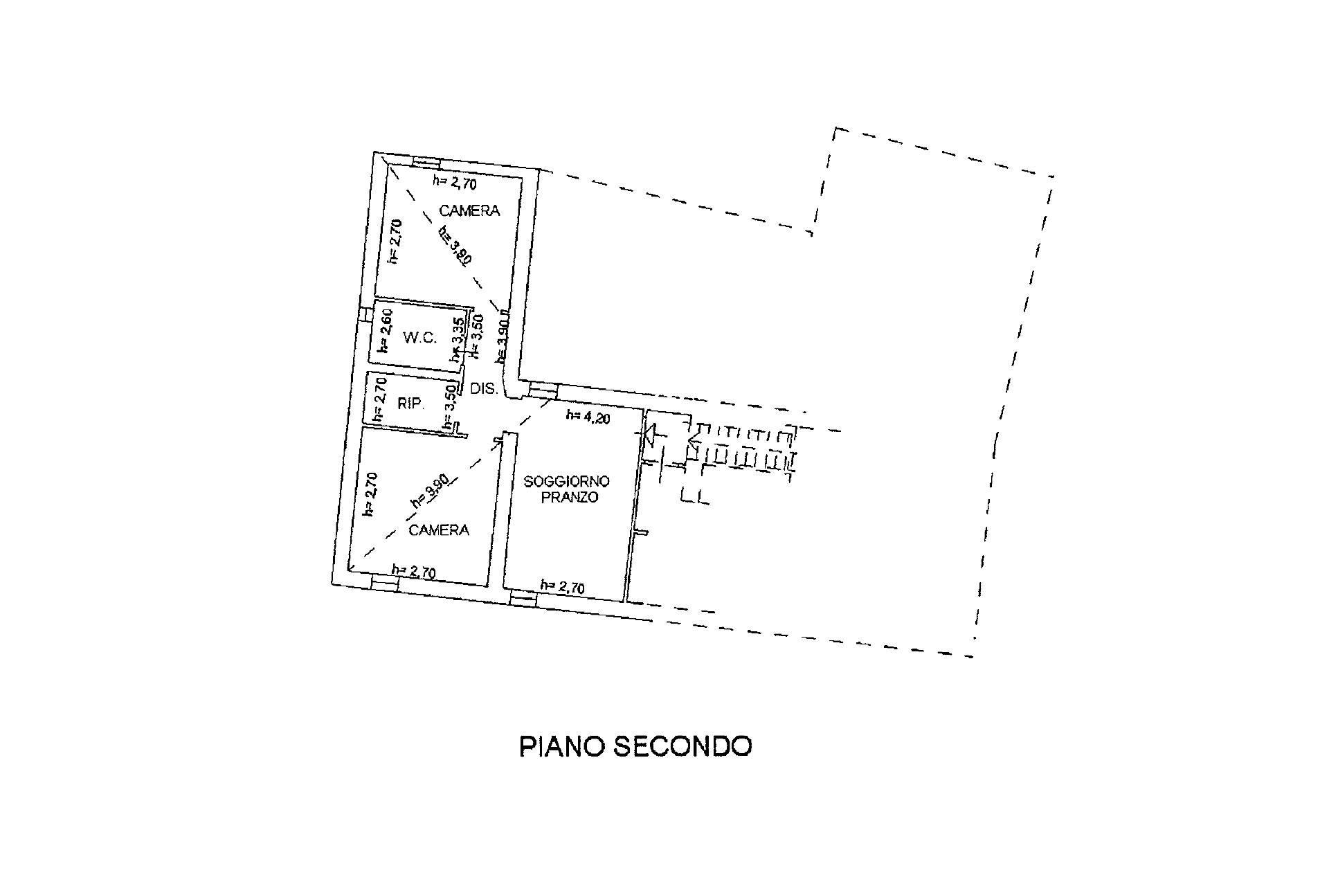 Planimetria appartamento piano secondo