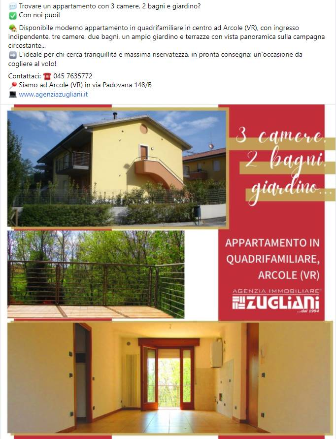 ARCOLE, Apartment for sale of 88 Sq. mt., Excellent Condition, Heating Individual heating system, Energetic class: D, Epi: 116,1 kwh/m2 year, placed